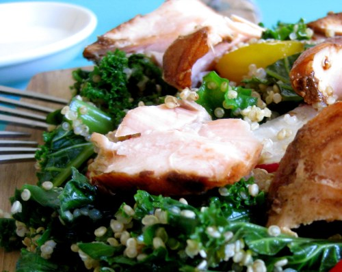 salmon on kale and quinoa salad